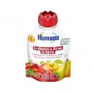 Humana BIO ābolu, bumbieru, zemeņu biezenis tūbiņā 90g